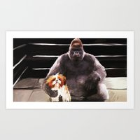 wrestling Art Prints featuring Wrestling Gorillas by Rich Okun