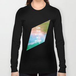 Wounds to Wisdom, Inspirational Typography on Geometric Watercolor Long Sleeve T-shirt
