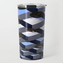 Geometric Shapes Blue Grey White Travel Mug