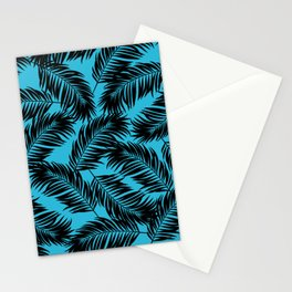 Palm Frond Tropical Décor Leaf Pattern Black on Cyan Vivid Arctic Blue Stationery Cards