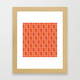 Mid Century Abstract Pattern Orange & Red Framed Art Print