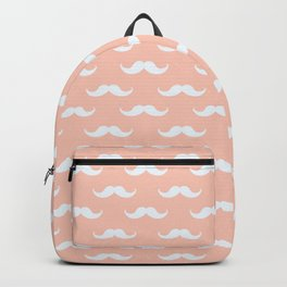 mustache pattern soft pink Backpack