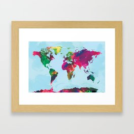 Watercolor World Map Framed Art Print