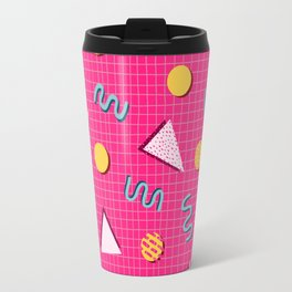 Geometric Memphis in Pink Travel Mug