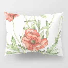 Fragile Beauty - Watercolor Poppies Pillow Sham