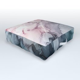 Blush and Paynes Gray Flowing Abstract Reflect Outdoor Floor Cushion