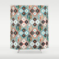 southwest Shower Curtains featuring Southwest Quilt by Vannina