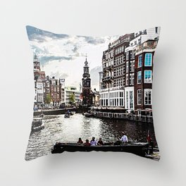 Amsterdam Canals and Fair Weather Clouds Throw Pillow