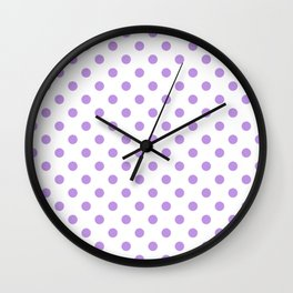 Small Polka Dots - Light Violet on White Wall Clock