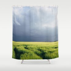 Field of barley against a stormy evening sky. Hilborough, Norfolk, UK. Shower Curtain