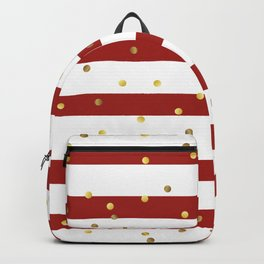 Christmas White and Red and Christmas Golden confetti Backpack