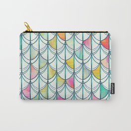 Pencil & Paint Fish Scale Cutout Pattern - white, teal, yellow & pink Carry-All Pouch