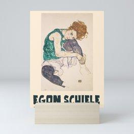 Egon Schiele - Exhibition Art Poster - Seated Woman with Bent Knee Mini Art Print