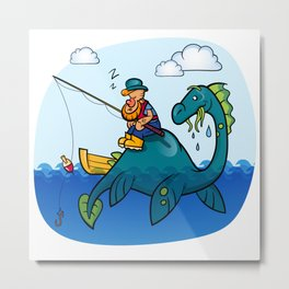 Dino and fisherman Metal Print