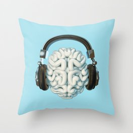 Mind Music Connection /3D render of human brain wearing headphones Throw Pillow