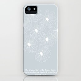 The Grass Withers and the Flower Fades... Floral Line Art Sketch -Isaiah 40:8 Blue iPhone Case