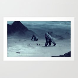Cyborg Gorillas Art Print