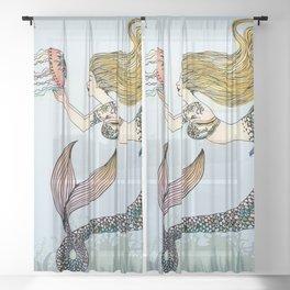 Jellyfish and Mermaid Sheer Curtain