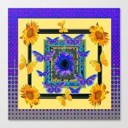 PURPLE BUTTERFLIES SUNFLOWERS MODERN ART Canvas Print