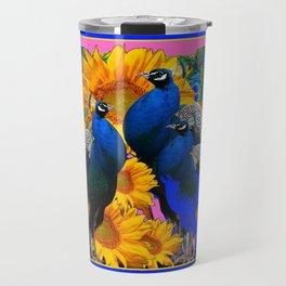 BLUE PEACOCK &  PINK-GREY COLOR YELLOW FLOWERS Travel Mug