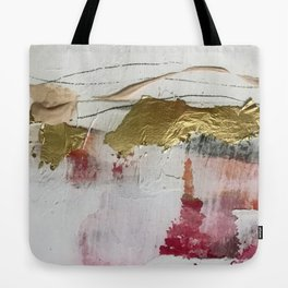 Untranslated Stars: a minimal, abstract piece in gold, pink, and white by Alyssa Hamilton Art Tote Bag