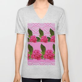 CERISE PINK GARDEN ROSES PATTERN ABSTRACT ART Unisex V-Neck
