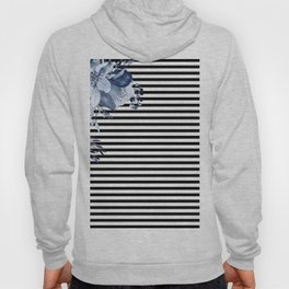 Blue Boho Flowers and Stripes Hoody