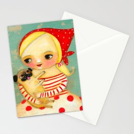 Babushka with pug dog Stationery Cards