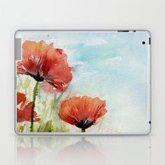 Red Flowers Watercolor Landscape Poppies Poppy Field Laptop & iPad Skin