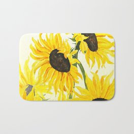sunflower watercolor 2017 Bath Mat