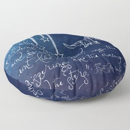 Blue Gardens and Stars Quote Floor Pillow