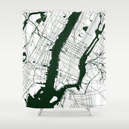 New York City White on Green Street Map Shower Curtain