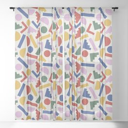 Colorful Geometric Shapes Sheer Curtain