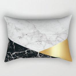 White Marble Black Granite & Gold #944 Rectangular Pillow