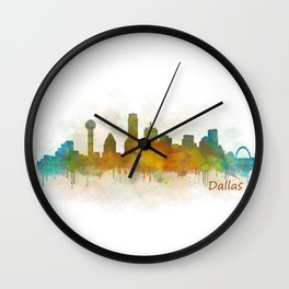 Dallas Texas City Skyline watercolor v03 Wall Clock