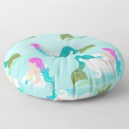 Fancy Colored Hair Style - Relaxed Mermaid in the Bathtub Floor Pillow