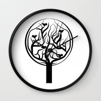 tree of life Wall Clocks featuring Life Tree by Frivolous Designs