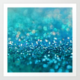 Teal turquoise blue shiny glitter print effect - Sparkle Luxury Backdrop Art Print