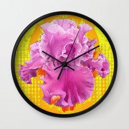 PINK FRILLY GARDEN IRIS YELLOW ART Wall Clock