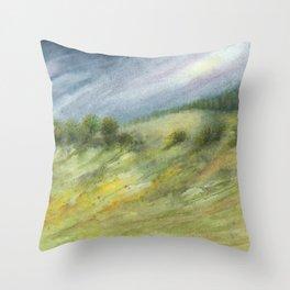 Precious Green Watercolor Landscape Throw Pillow