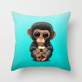 Cute Baby Chimp With Football Soccer Ball Throw Pillow