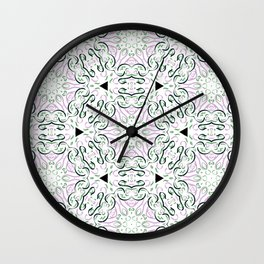 Ribbon Line Art in Pink and Green- Graphic Design Pattern Wall Clock