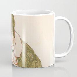 """Egon Schiele """"Edith with Striped Dress, Sitting"""" Coffee Mug"""