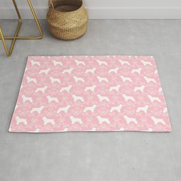 Cocker Spaniel pink and white minimal floral florals silhouette dog pattern Rug
