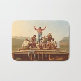 The Jolly Flatboatmen by George Caleb Bingham Bath Mat