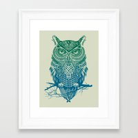 owls Framed Art Prints featuring Warrior Owl by Rachel Caldwell