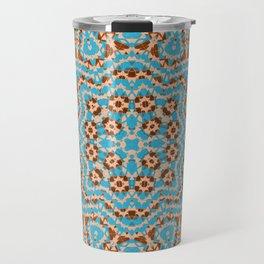 Brown blue kaleidoscope . Travel Mug