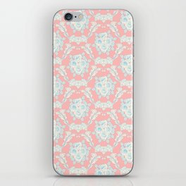 Shabby elegant coral ivory pastel blue floral damask iPhone Skin