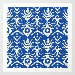 Blue Ikat Damask Print Art Print