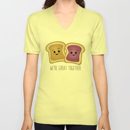 We're Great Together - Peanut Butter & Jelly Unisex V-Neck